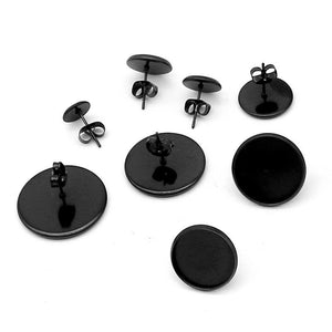 10 Black stainless steel ear stud cabochon settings - fits 8, 10, 12 or 14mm cabochons