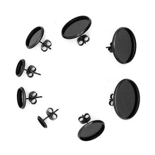 Load image into Gallery viewer, 10 Black stainless steel ear stud cabochon settings - fits 8, 10, 12 or 14mm cabochons