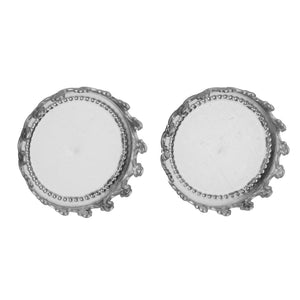 Stainless steel ear stud crown cabochon settings - fits 12mm cabochons