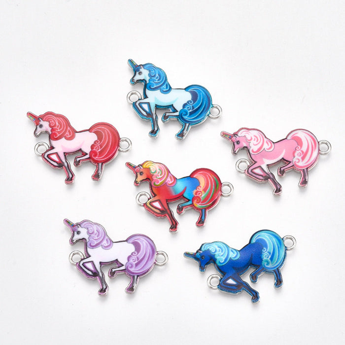 Unicorn links, silver enamel unicorn connectors, mixed color charms 10pcs