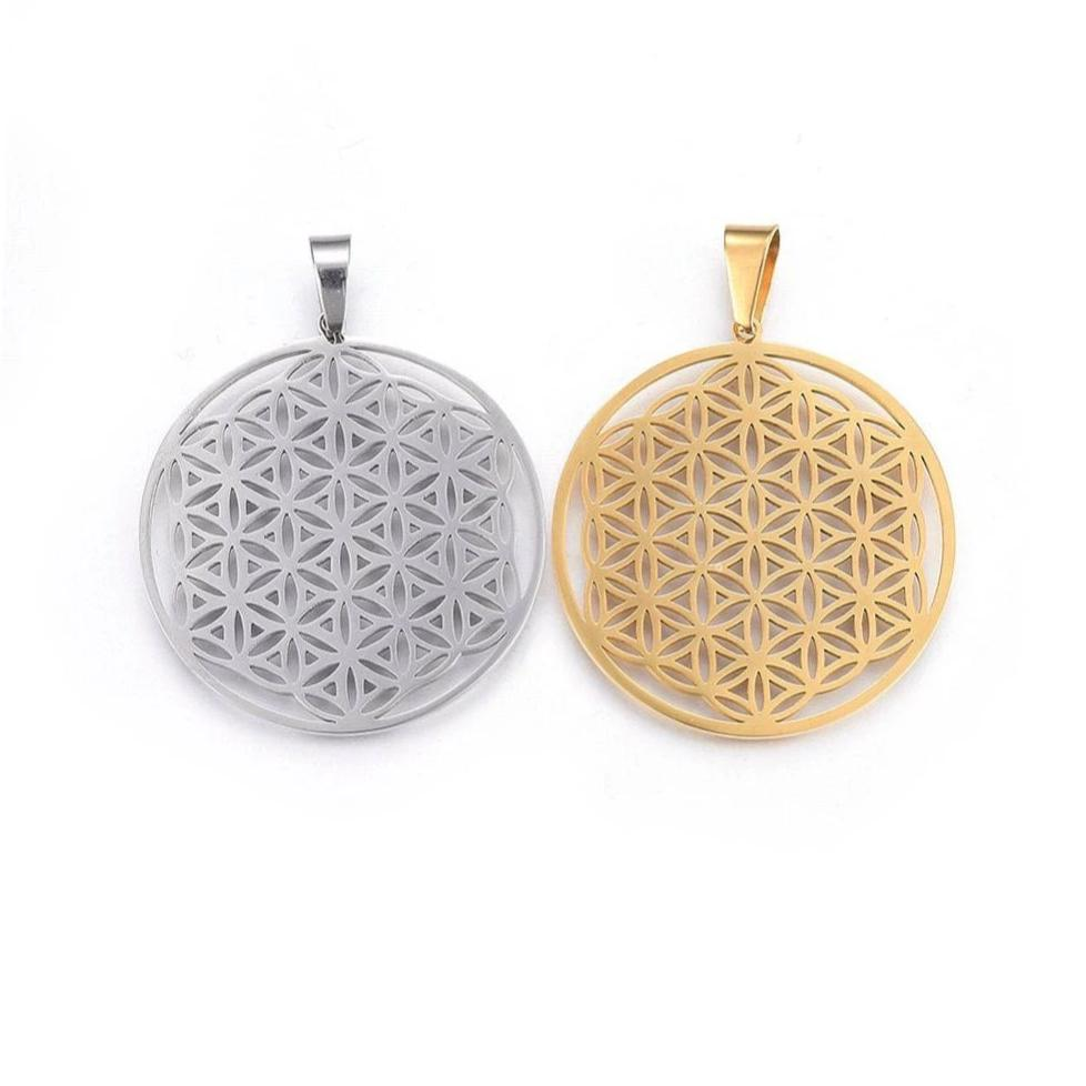 Flower of life pendant stainless steel hypoallergenic DIY sacred geometry necklace pendant
