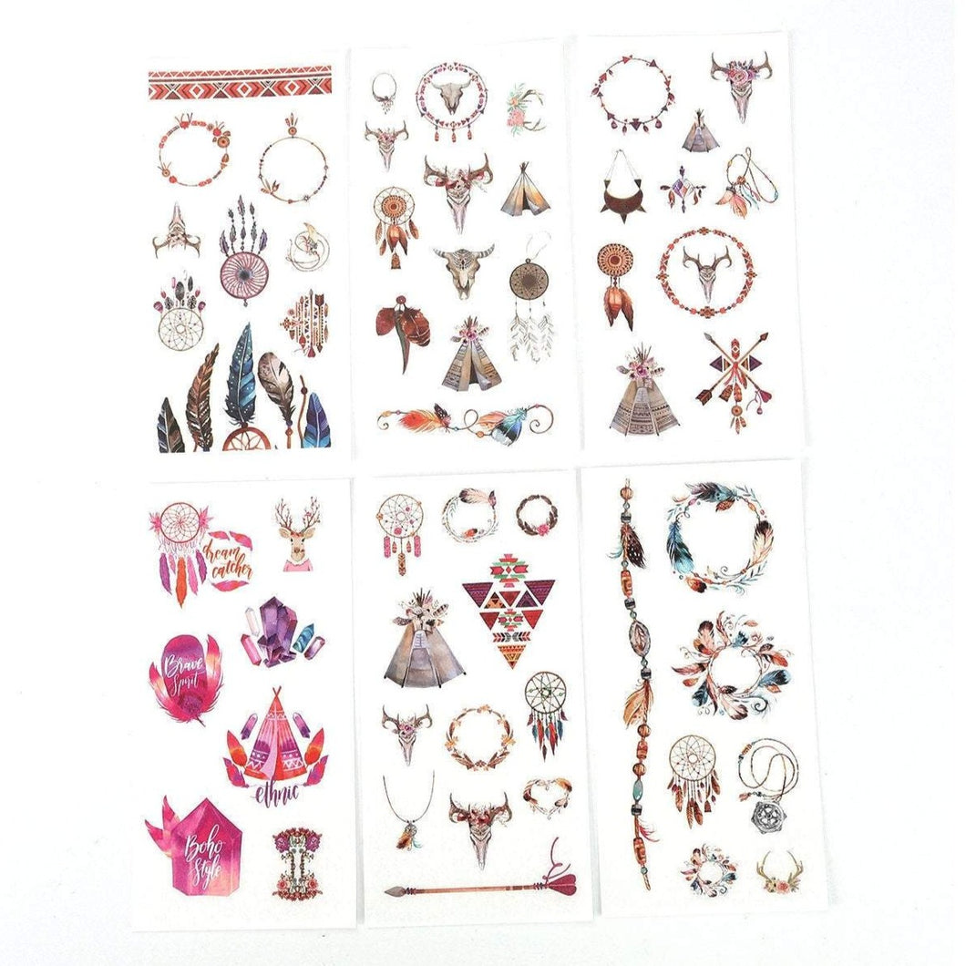 Dreamcatcher sticker pack - 6 sheets of boho stickers