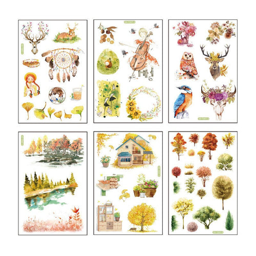 Fall forest sticker pack - 6 sheets of paper stickers