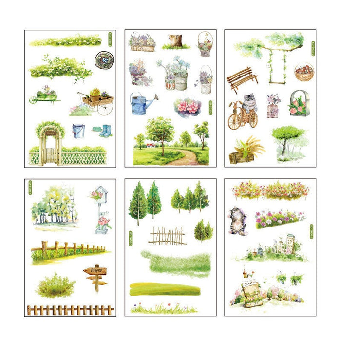 Summer garden sticker pack - 6 sheets of paper stickers