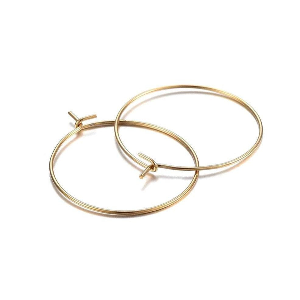 Gold stainless steel hoops 10pcs (5 pairs) - 2 size available