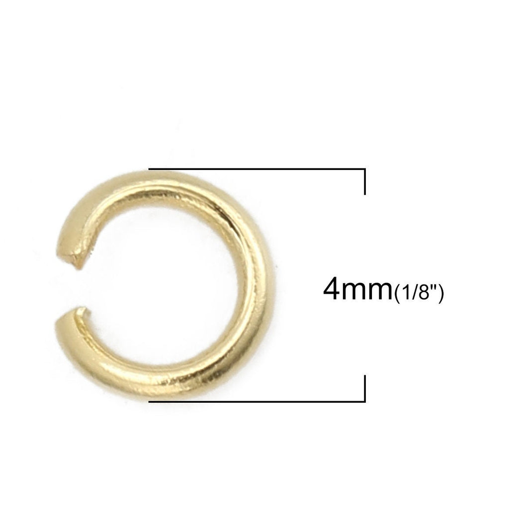 Stainless steel jump ring hypoallergenic gold jump ring 3, 4, 5 or 6mm - 200pcs