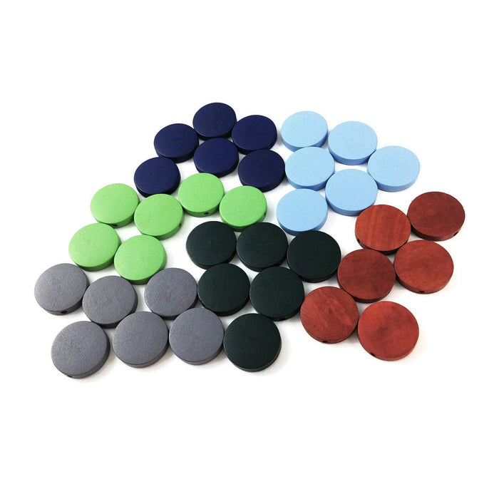Wood Beads Flat Round 20mm - Choose your color