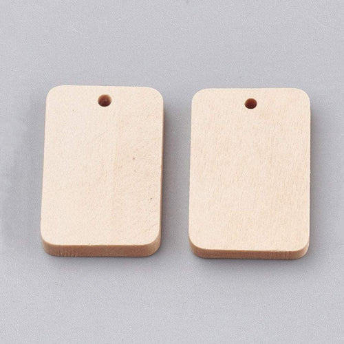 2 Rectangle wood pendant, unfinished, focal beads, natural 30x20mm (1 1/16 x 3/4