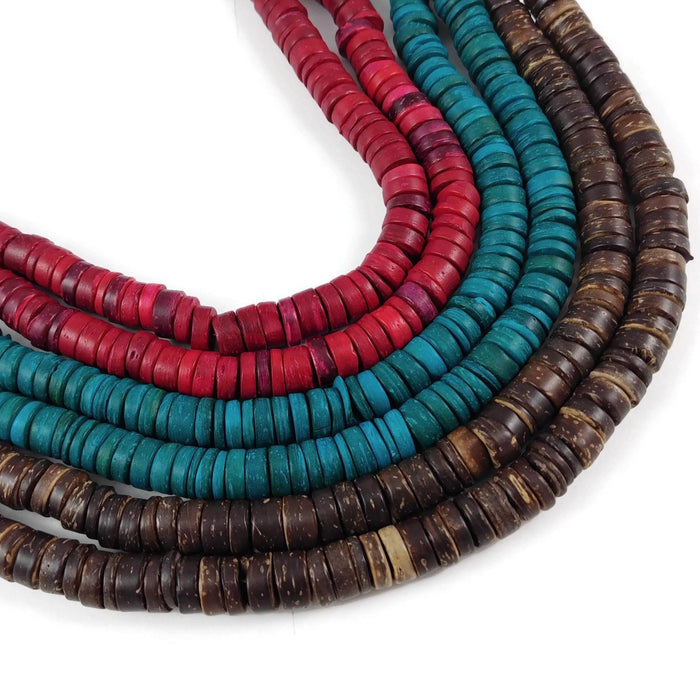Coconut beads - eco friendly rondelle beads 9mm - 100pcs