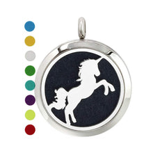 Load image into Gallery viewer, Unicorn diffuser necklace pendant, unicorn gift, diy aromatherapy locket jewelry