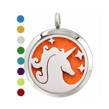 Load image into Gallery viewer, Unicorn diffuser necklace pendant, magic unicorn gift, diy aromatherapy locket jewelry