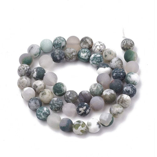 Natural Tree Agate Round Frosted Beads Strands 6 or 8mm