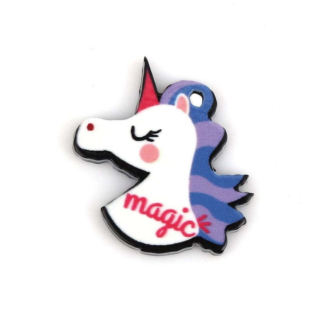 Magic unicorn charm, 5 acrylic unicorn charms