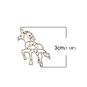 Origami unicorn charm, silver or gold metal unicorn charms