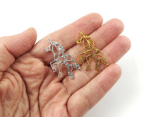 Load image into Gallery viewer, Origami unicorn charm, silver or gold metal unicorn charms