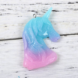Glitter unicorn charm, resin unicorn pendant, pink purple and aqua shades