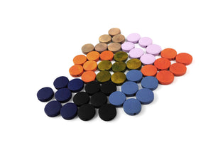 Wood Beads Flat Round 15mm - Choose your color