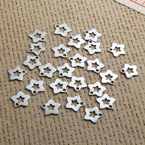 12mm star charms stainless steel hypoallergenic charms 10pcs