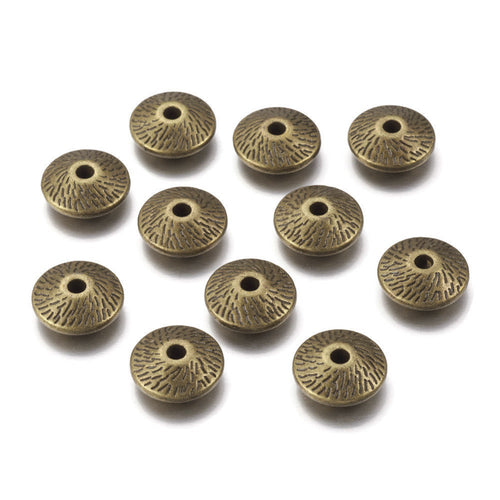 Antique bronze tibetan bicone beads 12mm - Nickel free, lead free and cadmium free