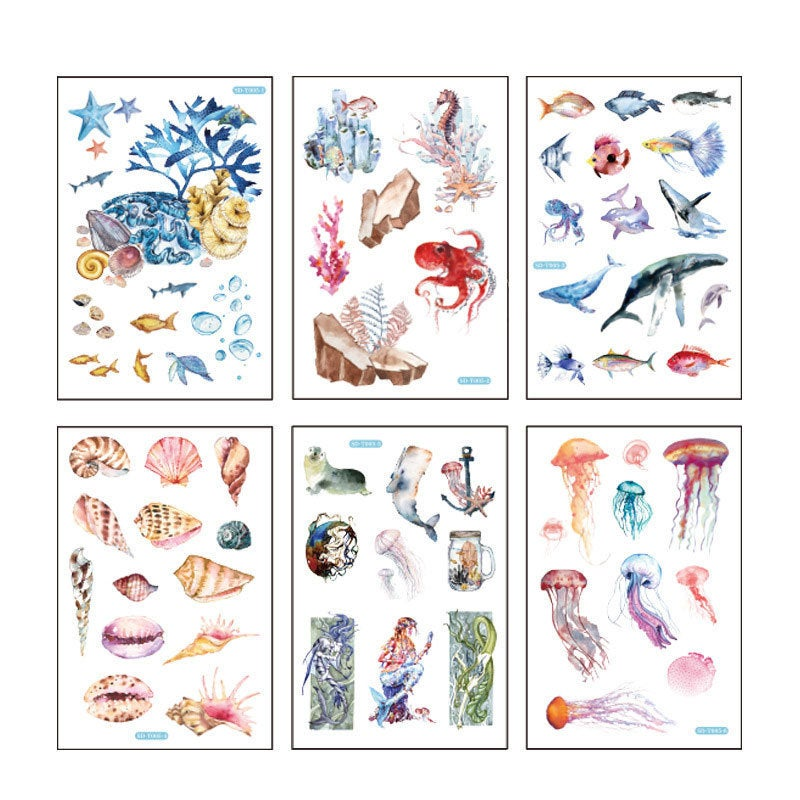 Treasures of the sea sticker pack - 6 sheets of paper stickers