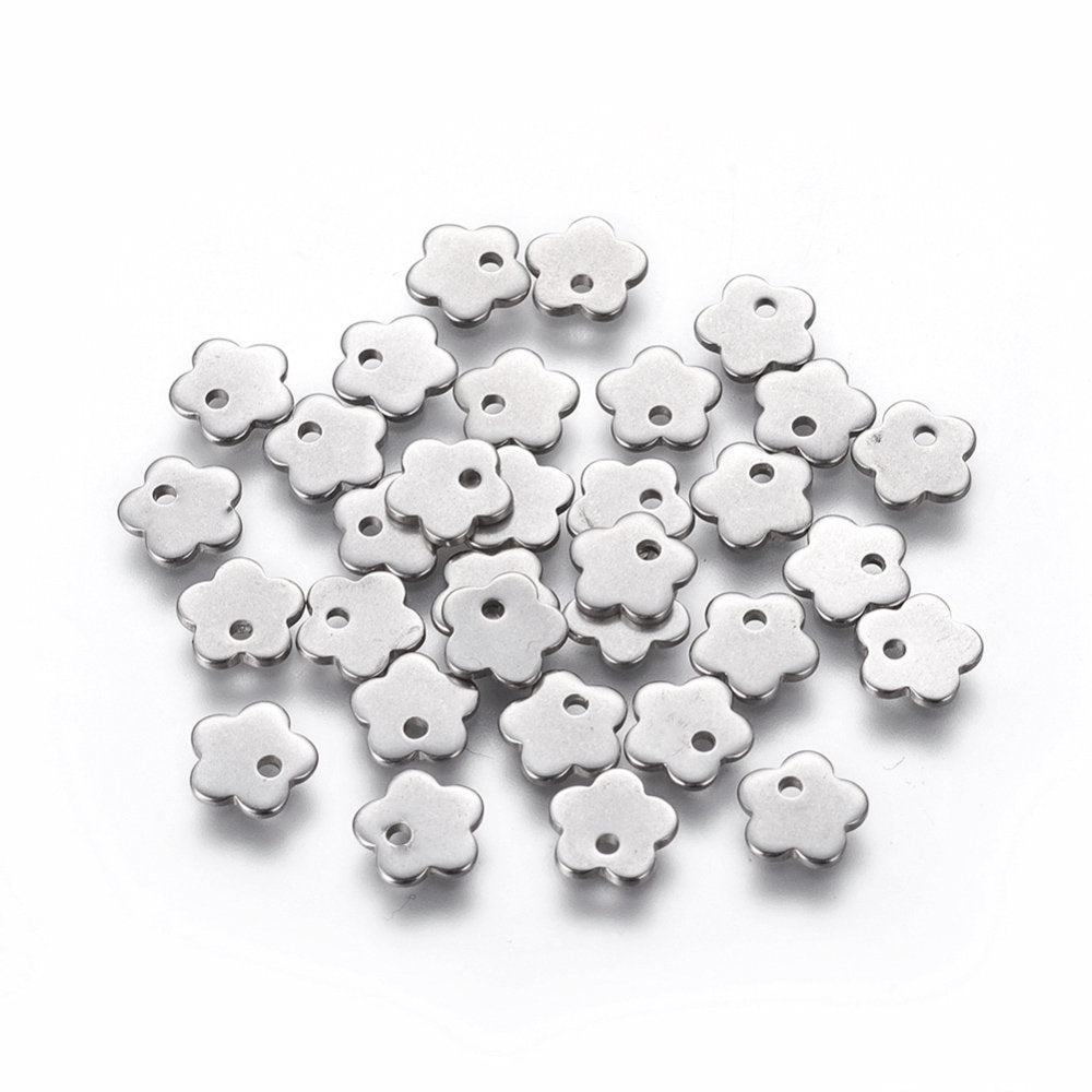 Tiny flower charms stainless steel hypoallergenic charms 10pcs