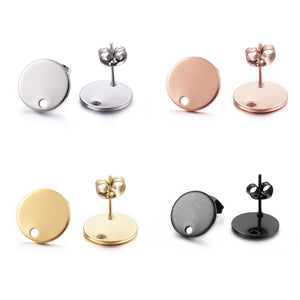 Stainless steel Earring post hypoallergenic 12mm round 10pcs (5 pairs)