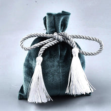 Load image into Gallery viewer, Emerald velvet pouch bag with tassel rope