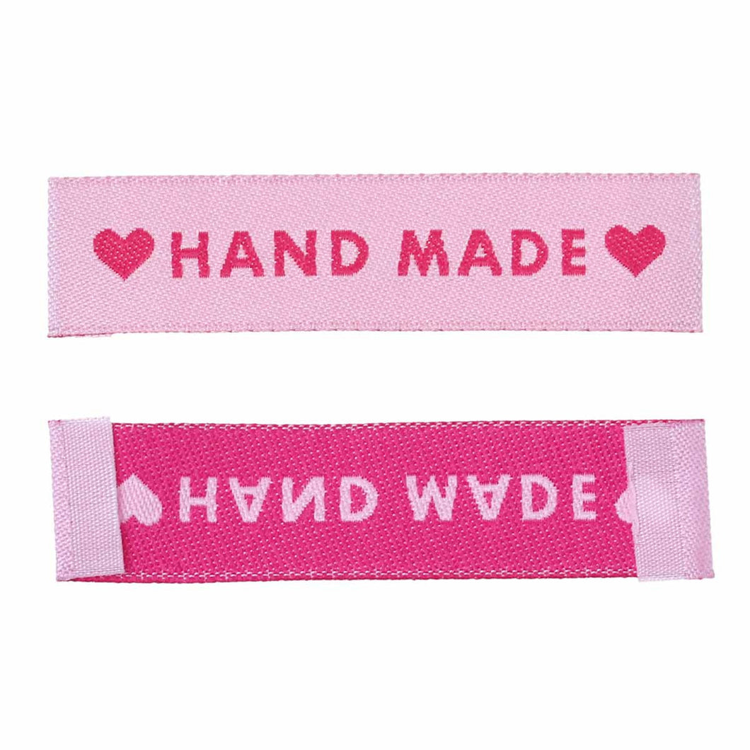10 Woven printed sewing labels - handmade with love - different styles for choice: pink, black or white