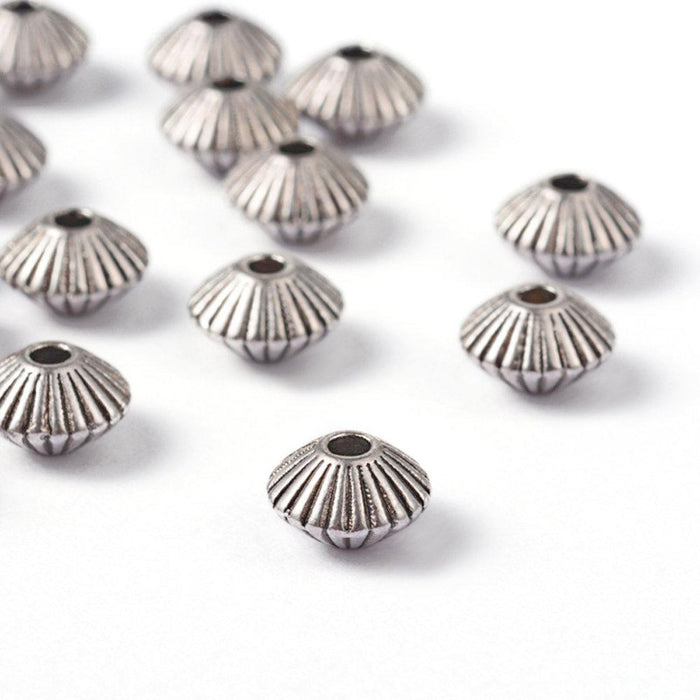 Antique silver tibetan bicone beads 8mm - Nickel free, lead free and cadmium free