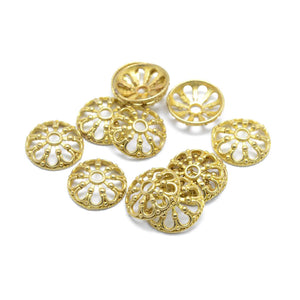 10 Flower gold bead caps 11mm  - Nickel free, lead free and cadmium free beadcaps
