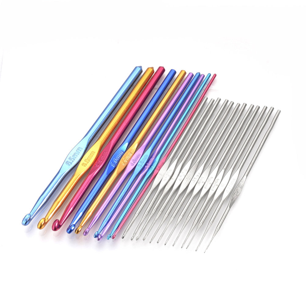Crochet needles set of 22 sizes metal crochet hooks
