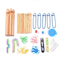 Load image into Gallery viewer, 75pcs crochet tools including 19 bamboo crochet hooks