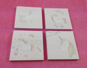 Cute unicorn paper memo sticky notes - pink and rainbow sticky notes