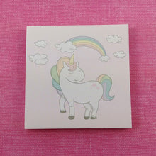 Load image into Gallery viewer, Cute unicorn paper memo sticky notes - pink and rainbow sticky notes