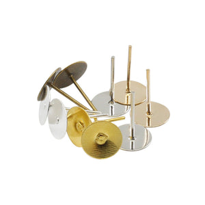 100 Earring stud posts, 6mm pad, gold. Nickel free, lead free and cadmium free