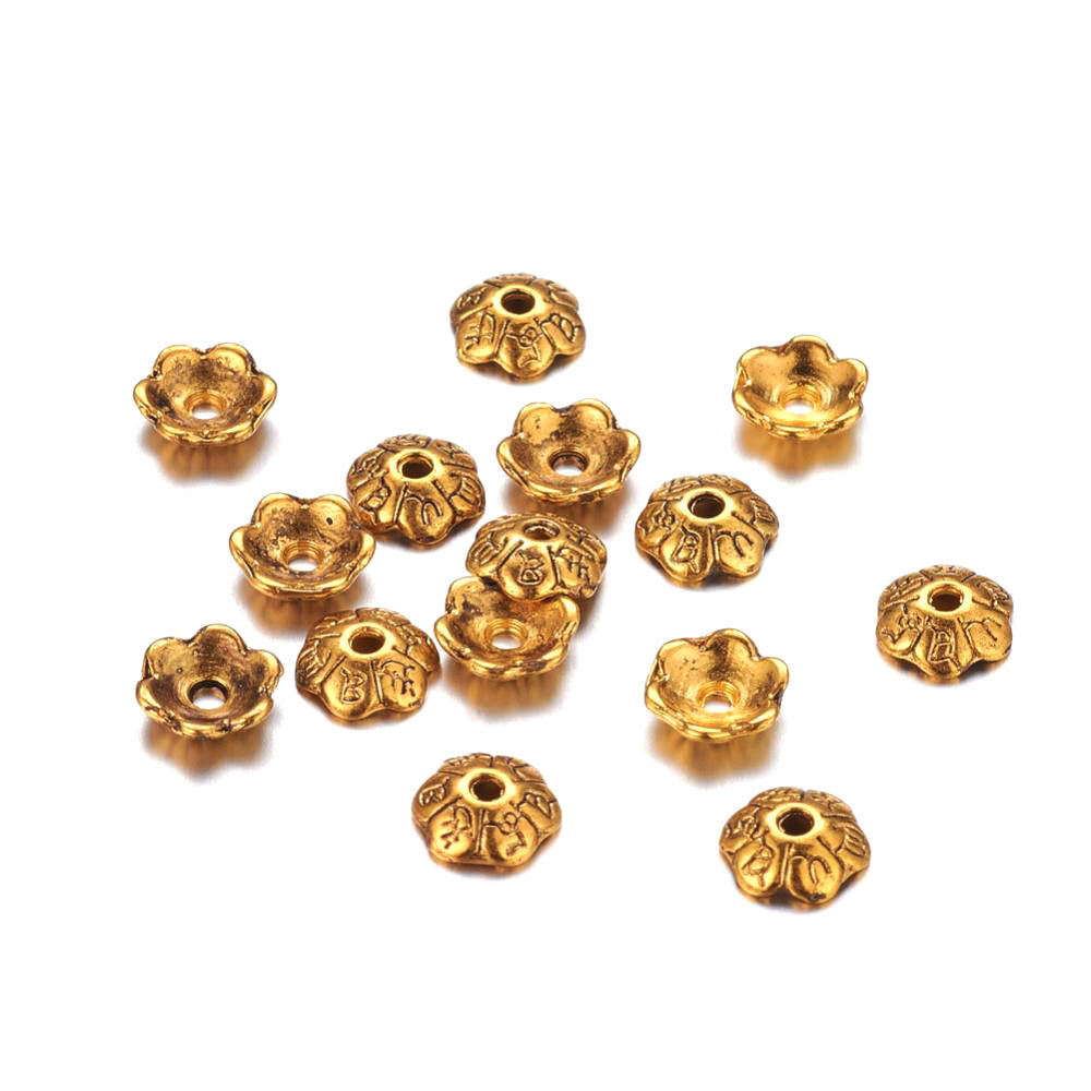 10 Flower gold bead caps 6mm  - Nickel free, lead free and cadmium free beadcaps
