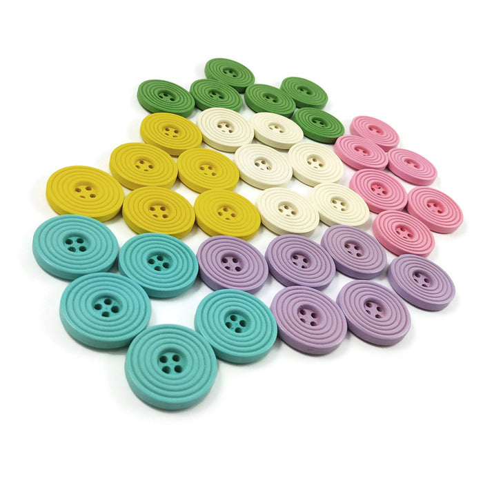 1 inch wooden pastel buttons 25mm - Set of 6 circle wood button - Choose your color