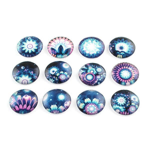 Mixed nystic floral glass cabochons - set of 20 round dome cabochons - 12mm