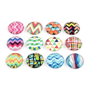 Mixed colorful geometric glass cabochons - set of 20 round dome cabochons - 12mm