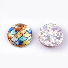 Load image into Gallery viewer, Mixed glitter mermaid glass cabochons - set of 35 round dome cabochons - 12mm