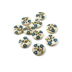 10  Flower wood painted sewing buttons - blue, green and purple 15mm