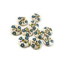 Load image into Gallery viewer, 10  Flower wood painted sewing buttons - blue, green and purple 15mm