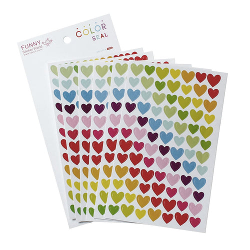 Heart sticker set - 6 sheets