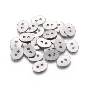 6 silver metal buttons, stainless steel buttons or clasps, oval buttons 14 or 17mm