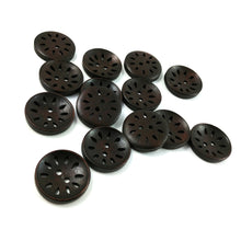 Load image into Gallery viewer, 6 hollow wooden buttons 25mm