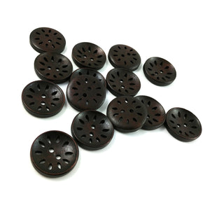 6 hollow wooden buttons 25mm