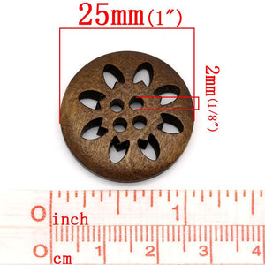 6 hollow flower wooden buttons 25mm