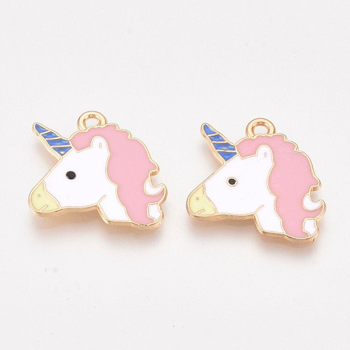 Pink unicorn charm, gold enamel unicorn charms