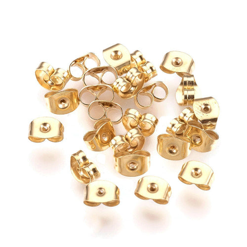 Golden earring back stopper stainless steel butterfly earnut hypoallergenic  6mm