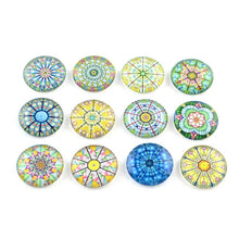 Load image into Gallery viewer, Mixed rosace glass cabochons - set of 20 round dome cabochons - 12mm